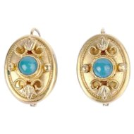 Victorian Etruscan Revival Turquoise 14k Gold Earrings