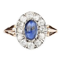An Unheated Sapphire and Diamond Ring