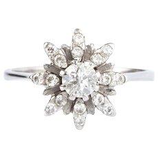 Diamond Modern Flowerhead 18k Gold Ring
