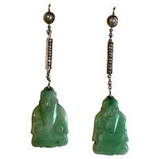 A Pair of 15 Karat Gold Jade Art Deco Buddha Earrings