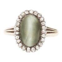 A Cat's Eye Chrysoberyl and Diamond Victorian Ring