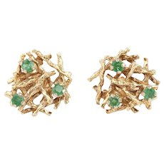 1970s Emerald and Gold Earrings