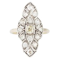 A Victorian Yellow Diamond and Diamond Marquise Ring