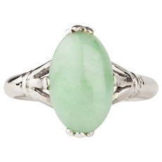 Art Deco 18 Karat White Gold Jade Ring