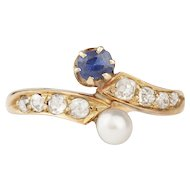 Sapphire Diamond and Natural Pearl Victorian Ring