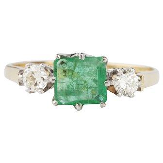 Emerald and Diamond 18 Karat Gold Engagement Ring