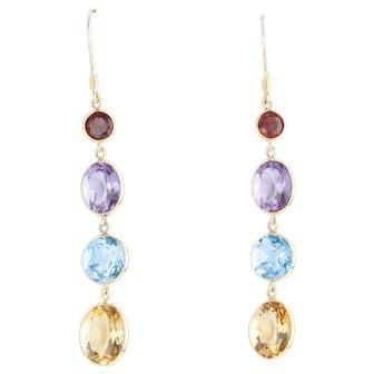 18 Karat Gold Multi Gem Drop Earrings