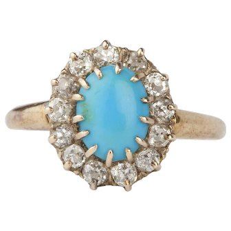 A Victorian Rose Cut Diamond and Turquoise Ring
