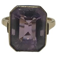 A Modern Large Amethyst Gold Ring