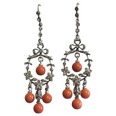 Coral and Paste Set Silver and 9k Gold Earrings