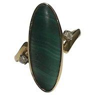 A Malachite and Diamond 18k Dress Ring