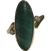 A Malachite and Diamond 18k Dress Ring