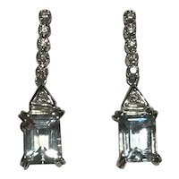 Aquamarine and Diamond 18k Earrings