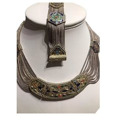 An Egyptian Revival Art Deco Turkish Necklace and Bracelet