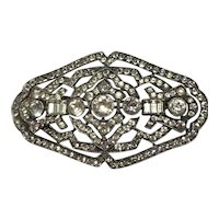 A Knoll and Pregizer Silver and Paste Art Deco Brooch