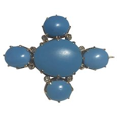 A Turquoise and Rose Cut Diamond Brooch