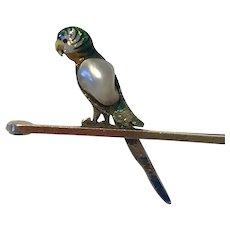 An 15k Gold Enamel Parrot Edwardian Brooch