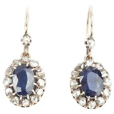 Victorian Diamond and Sapphire Earrings