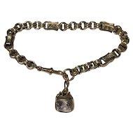 Victorian 9k Bracelet With Amethyst Fob