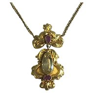Victorian Ruby and Citrine Pendant