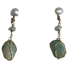 Turquoise and Natural Pearl Edwardian Earrings