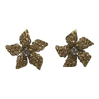 Mid Century Flowerhead Diamond 18k Earrings