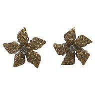 Mid Century Flowerhead Diamond 18k Earrings