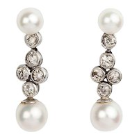 Old Cut Diamond and Cultured Pearl Earrings