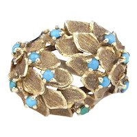 A 1970s Bombe Turquoise Dress Ring