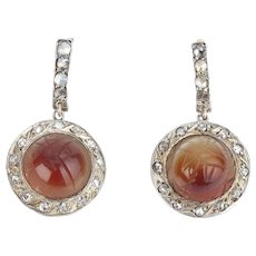 Carnelian Scarab Rose Cut Diamond Earrings