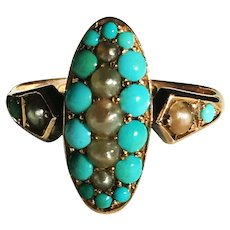 Edwardian Turquoise and Natural Pearl Ring