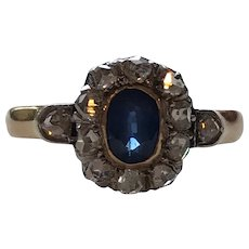 Sapphire and Rose Cut Diamond Victorian Ring