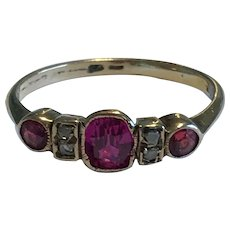 An Early 20th Century Garnet And Synthetic Ruby Ring