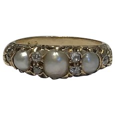 Pearl and Rosecut Diamond Antique Ring 14k