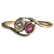 A Ruby and Old Cut Diamond Crossover Ring