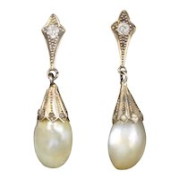 Natural Pearl and Diamond Antique Edwardian Earrings
