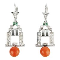 French Art Deco Diamond Emerald and Natural Coral Earrings