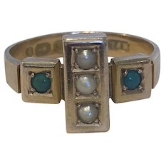 Victorian Turquoise and Pearl Mourning Ring