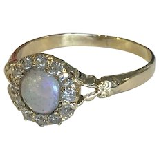 Victorian Rose Cut Diamond and Opal Ring