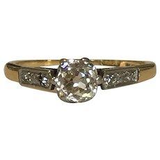 Old Cut Diamond 18 Karat and Platinum 0.5ct Diamond Ring