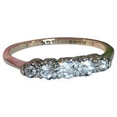 Old Cut Diamond 18 Karat Gold Five Stone RIng