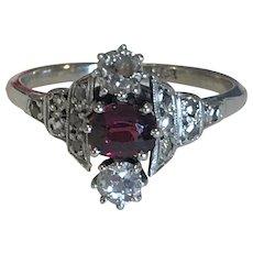 Edwardian Old Cut Diamond And Garnet Ring