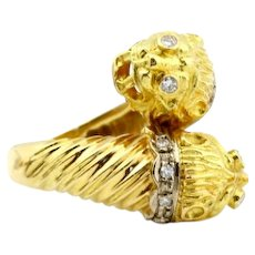 Vintage 18k Yellow Gold Signed Ilias Lalaounis Double Lion Head Chimera Diamond Ring