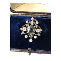 Natural Green Sapphire and Old Cut Diamond Victorian Brooch