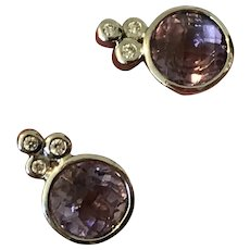 Amethyst and Diamond 18Karat Gold Earrings