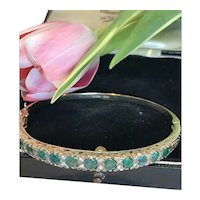 Emerald and Diamond 9k Bangle