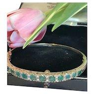Emerald and Diamond 9k Bangle