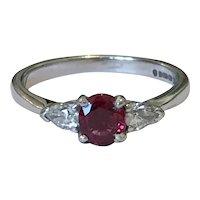Diamond and Spinel 18 Karat Engagement Ring
