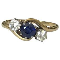 Sapphire and Old Cut Diamond 18 Karat  Ring