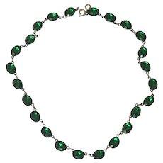 English Rivière Georgian Emerald Paste Sterling Silver Necklace